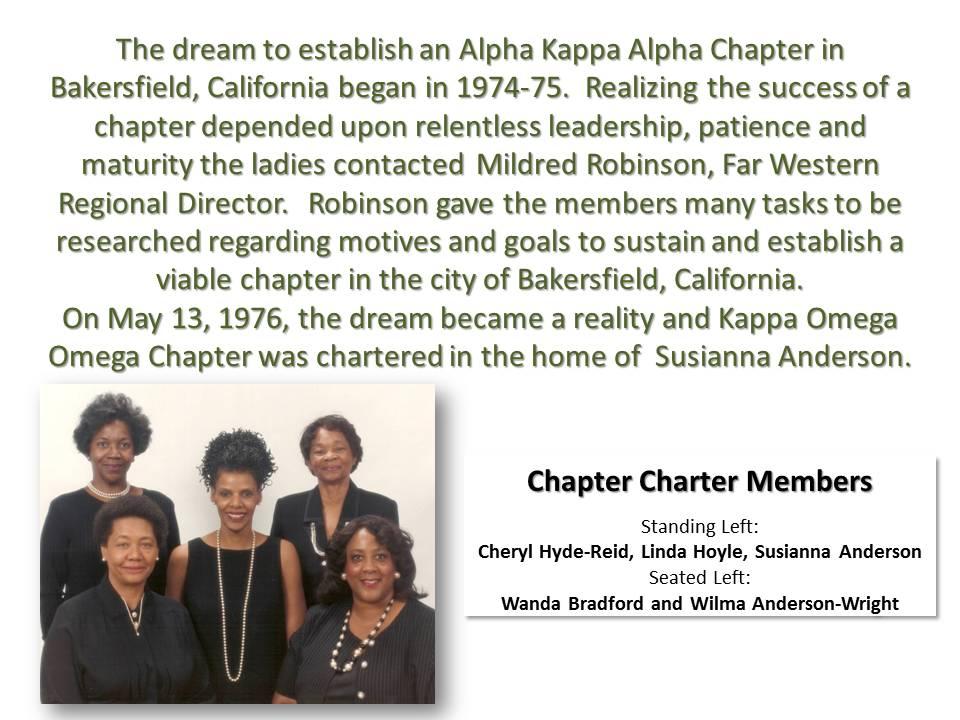 Charter history of KOO Chapter